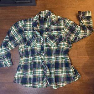 Ashley Stewart Green/Blue Plaid flannel - 18/20